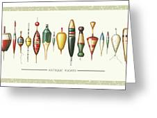 Antique Bobbers Greeting Card by JQ Licensing
