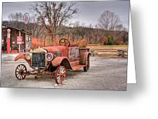 Antique Car And Filling Station 1 Greeting Card by Douglas Barnett
