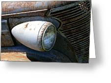 Antique Car Headlight Greeting Card by Douglas Barnett