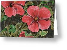 Antique Hibiscus Black 2 Greeting Card by Debbie DeWitt