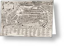 Antique Map Of Naples Greeting Card by Italian School