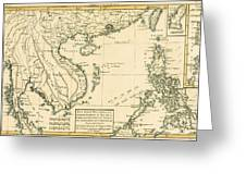 Antique Map Of South East Asia Greeting Card by Guillaume Raynal
