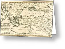 Antique Map Of Turkey Greeting Card by Guillaume Raynal