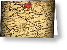 Antique Map With A Heart Over The City Of Florence In Italy Greeting Card by ELITE IMAGE photography By Chad McDermott