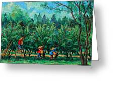 Apple Pickers  Littletree Orchard  Ithaca Ny Greeting Card by Ethel Vrana