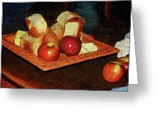 Apples And Bread Greeting Card by Susan Savad