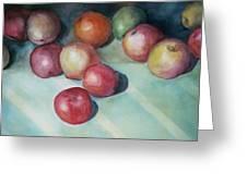 Apples And Orange Greeting Card by Jun Jamosmos