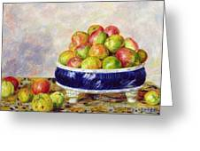 Apples In A Dish Greeting Card by  Pierre Auguste Renoir