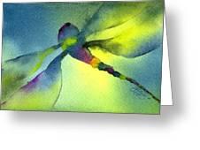 Aqua Dragonfly Greeting Card by Gladys Folkers