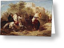 Arab Horsemen Greeting Card by Eugene Fromentin