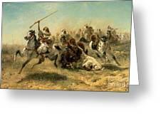 Arab Horsemen On The Attack Greeting Card by Adolf Schreyer