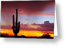 Arizona Lightning Sunset Greeting Card by James BO  Insogna