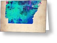 Arkansas Watercolor Map Greeting Card by Naxart Studio