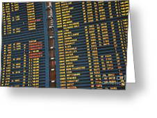 Arrival Board At Paris Charles De Gaulle International Airport Greeting Card by Sami Sarkis