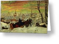Arriving For The Holidays Greeting Card by Boris Mihajlovic Kustodiev