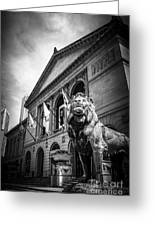 Art Institute Of Chicago Lion Statue In Black And White Greeting Card by Paul Velgos
