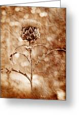 Artichoke Bloom Greeting Card by La Rae  Roberts