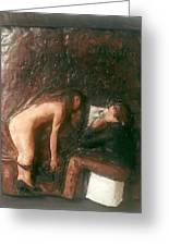 Artist And Nude Model Greeting Card by Harry  Weisburd