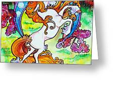 artsy nouveau unicorn Greeting Card by Jenn Cunningham
