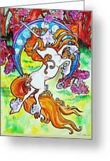 Artsy Nouveau Unicorn Greeting Card by Jenn Cunningham