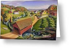 Folk Art Covered Bridge Appalachian Country Farm Summer Landscape - Appalachia - Rural Americana Greeting Card by Walt Curlee