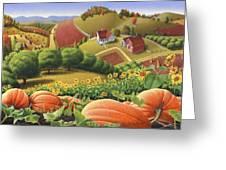 Farm Landscape - Autumn Rural Country Pumpkins Folk Art - Appalachian Americana - Fall Pumpkin Patch Greeting Card by Walt Curlee