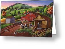 Folk Art Americana - Farmers Shucking Harvesting Corn Farm Landscape - Autumn Rural Country Harvest Greeting Card by Walt Curlee