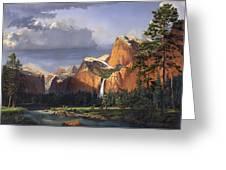 Deer Meadow Mountains Western Stream Deer Waterfall Landscape Oil Painting Stormy Sky Snow Scene Greeting Card by Walt Curlee