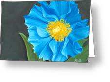 Asian Blue Greeting Card by Laura Bell