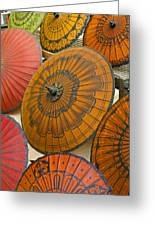 Asian Umbrellas Greeting Card by Michele Burgess