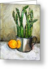 Asparagus In A Sterling Cup Greeting Card by Amy Higgins