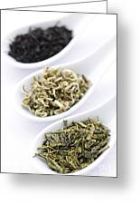 Assortment Of Dry Tea Leaves In Spoons Greeting Card by Elena Elisseeva
