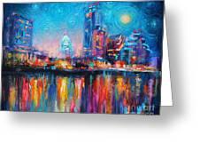 Austin Art Impressionistic Skyline Painting #2 Greeting Card by Svetlana Novikova