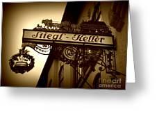 Austrian Beer Cellar Sign Greeting Card by Carol Groenen
