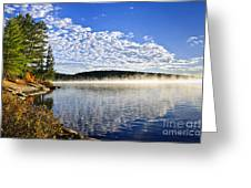Autumn lake shore with fog Greeting Card by Elena Elisseeva