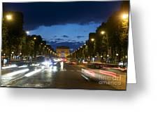 Avenue Des Champs Elysees. Paris Greeting Card by Bernard Jaubert