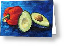 Avocado And Pepper  Greeting Card by Torrie Smiley