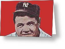 Babe Ruth Greeting Card by Paul Van Scott