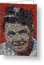 Babr Ruth Puzzle Piece Mosaic Greeting Card by Paul Van Scott