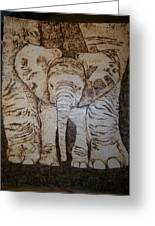 Baby Elephant Pyrographics On Paper Original By Pigatopia Greeting Card by Shannon Ivins