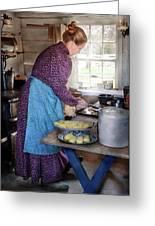 Baker - Preparing Dinner Greeting Card by Mike Savad