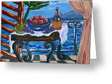 Balcony By The Mediterranean Sea Greeting Card by Karon Melillo DeVega