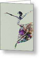 Ballerina Dancing Watercolor Greeting Card by Naxart Studio