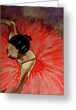 Ballerine Rouge Greeting Card by Rusty Woodward Gladdish