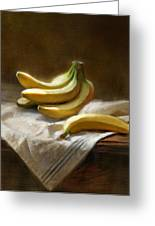 Bananas On White Greeting Card by Robert Papp