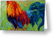Band Of Gold - Rooster Greeting Card by Marion Rose
