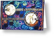 Banjos - Bordered Greeting Card by Sue Duda