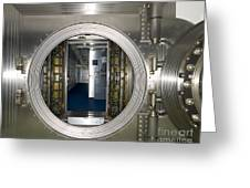 Bank Vault Interior Greeting Card by Adam Crowley