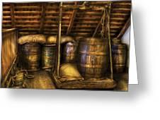 Bar - Wine Barrels Greeting Card by Mike Savad