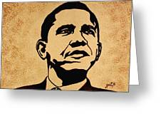 Barack Obama Original Coffee Painting Greeting Card by Georgeta  Blanaru